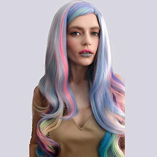 Novopus perruque: Femme Ondulation Naturelle Rose Cheveux Synthétiques Balayées/Partie latérale Rose Perruque Long/Très long Sans bonnet Arc-en-ciel:24 pouces