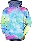 Qbbes Sudaderas con Capucha Unicorn Galaxy con diseño de Unicornio para niñas de 5 a 12 años-13-14 años_Espacio Tie Dye