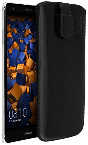 mumbi Echt Ledertasche kompatibel mit Huawei Mate S Hülle Leder Tasche Case Wallet, schwarz