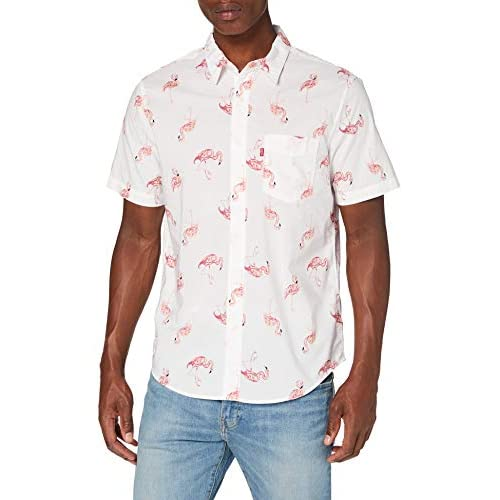 Levi's S/s Sunset 1 Pkt Standrd Camicia, White (Flamingo Tossed Cloud Dancer 0004), M Uomo