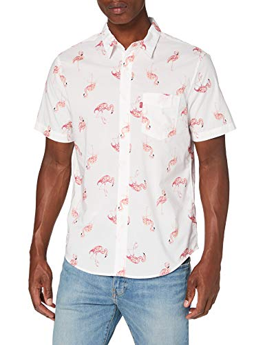 Levi's S/s Sunset 1 Pkt Standrd Camicia, Bianco (Flamingo Tossed Cloud Dancer 0004), Medium Uomo