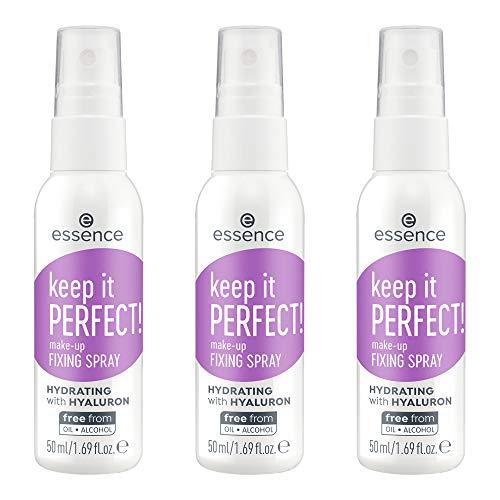 essence keep it PERFECT! make-up FIXING SPRAY, transparent, für Mischhaut, für trockene Haut, für unreine Haut, langanhaltend, erfrischend, natürlich, vegan, Nanopartikel frei, 3er Pack (3 x 50ml)