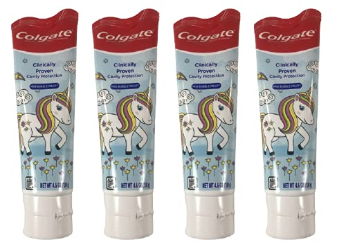Colgate Unicorn Anticavity Kids Toothpaste with Fluoride for Ages 2+, ADA-Accepted, Bubble Fruit Flavor - 4.6 Ounces (4 Pack)