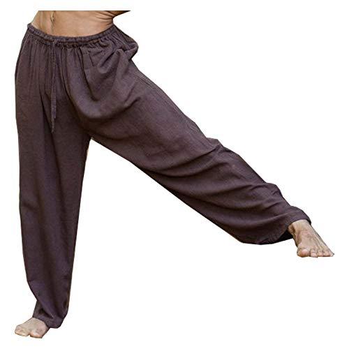 YUGI Brun Mens Yoga Yoga Byxor Naturliga växtfärgade fickor Yogi Andningsbar Gym Straight Byxor...