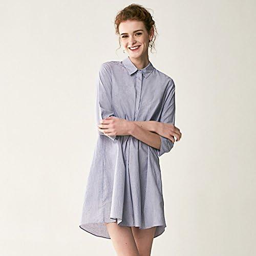 YFF Robe Chemise Solide col Polo Coton lache Le Bouton de Fermeture d'une Ligne Bleu Clair,S