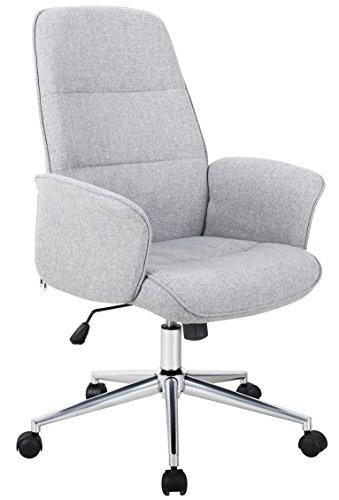 SixBros. Bürostuhl, Schreibtischstuhl mit Armlehne, Drehstuhl für's Büro oder Home-Office, stufenlos höhenverstellbar & leichtläufig, hohe Rückenlehne, Sitzbezug aus Stoff, grau 0704H/4458