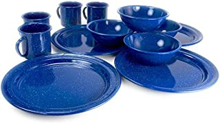 GSI Outdoors Sierra Enamel Table Set for Four with Bowls, Plates and Cups for Camping