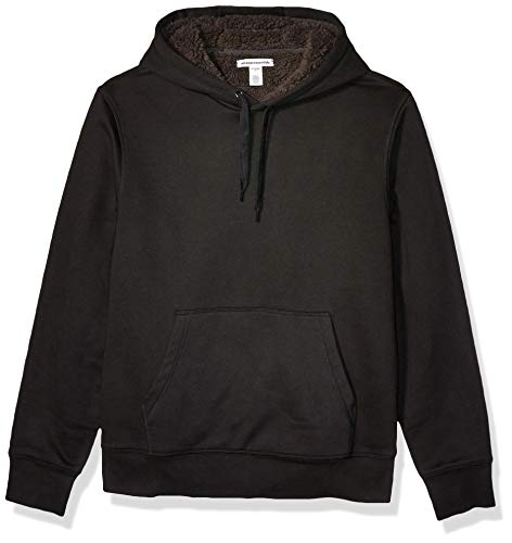 Amazon Essentials Men's Sherpa Lined Pullover Hoodie Sweatshirt, Black, XX-Large