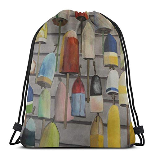 IUBBKI Cool Buoy Painting Nautical Drawstring Backpack Lightweight Sports Gym Bag Large Size Waterproof String Sackpack for Yoga Travel Shopping Men Women