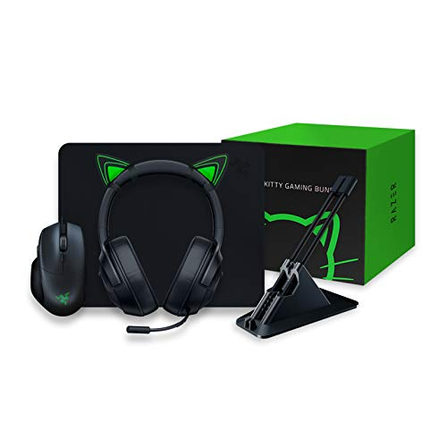 Razer Kitty Gaming Bundle con Basilisk Essential, Kraken X Lite, Goliathus Mobile Stealth, Mouse Bungee V2 e Kitty Ears, Kitty Bundle