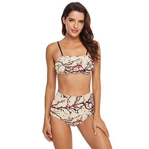 Bikini Damen Badeanzug mit hoher Taille – Baum japanische Kirschblüte Badeanzug Mädchen Teenager Bademode Gr. 52, multi