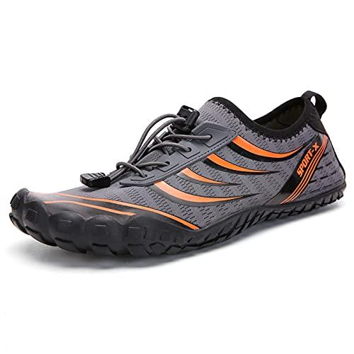 CHUIKUAJ Mujer Hombre Zapatillas de Trail Running Zapatillas de Carretera Zapatillas de Buceo Zapatillas de Mar Playa Baño,Orange-41EU
