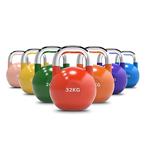 HOLD STRONG Fitness Smart Athletics Competition Kettlebell – Gewicht 8 bis 32 kg – SA.RL-CKB - Wettkampf Kettlebell mit Chrome-Coating Grifffläche (8)