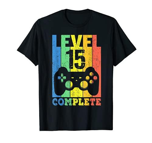 15 Años Cumpleaños Niño Niña Chico Chica Regalo Level 15 Camiseta