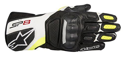Alpinestars 1694340402 Motorrad Handschuhe, Schwarz/Weiss/Gelb, M