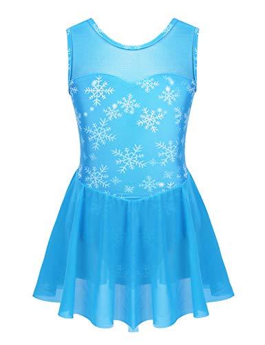 MSemis Vestido Patinaje Artístico Competición para Niñas Maillot Gimnasia Rítmica Leotardo Ballet Estampado Nieves Disfraz Princesa Azul Ropa Bailarina Patinadora