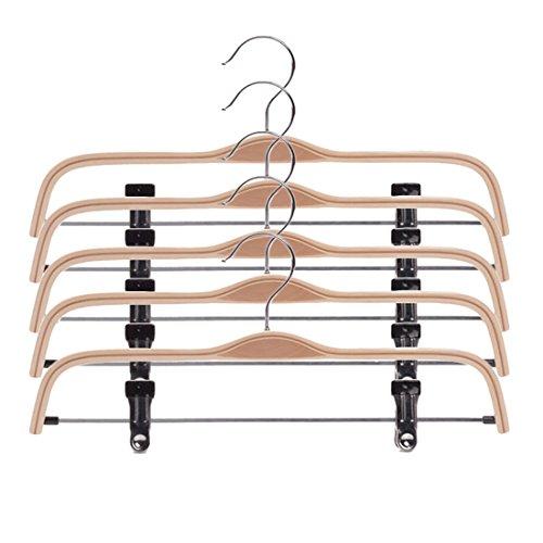 Hosenbügel Holz, Teckpeak 5 Stücke Hosenbügel Klemmbügel Clip Kleiderbügel Rutschfest Holz--37cm