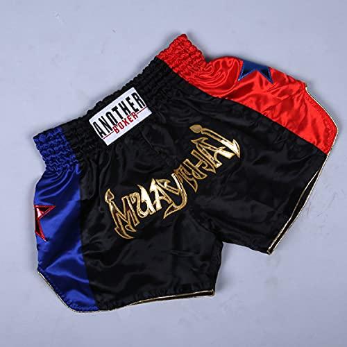 LGQ Boxshorts Atmungsaktive Muay Thai Shorts Verschleißfeste Workout & Trainingsshorts für Kinder,Schwarz,M