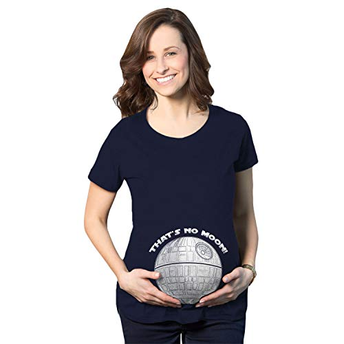 Crazy Dog Tshirts - Maternity Thats No Moon Cute T Shirt Funny Pregnancy Announcement Baby Bump Tee (Navy) - S - Divertente Mag