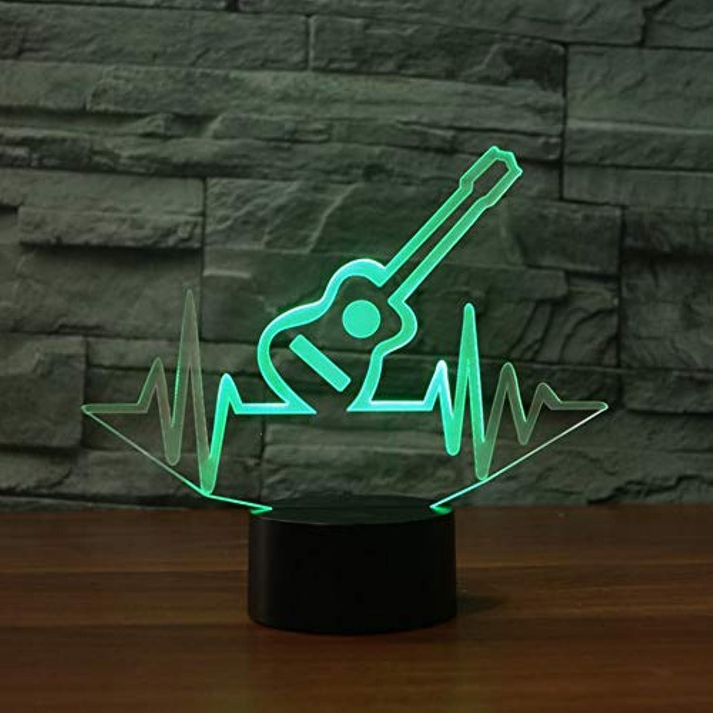 Laofan 7 Farbwechsel Led Visuelle Beat Gitarre Nachtlicht 3D Musikinstrument Tischlampe Geschenke Dekor Schlaf Leuchte,Berührungsschalter
