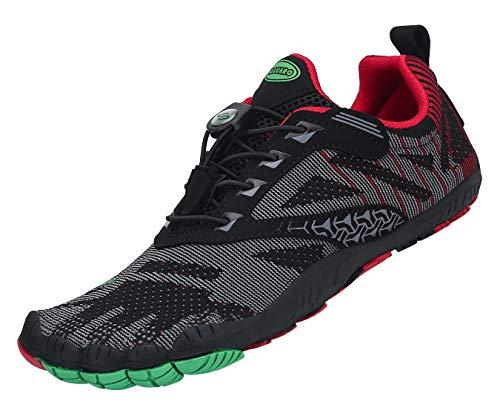 SAGUARO Zehenschuhe Unisex Barfußschuhe Atmungsaktive Traillaufschuhe rutschfeste Laufschuhe,05 Rot,44
