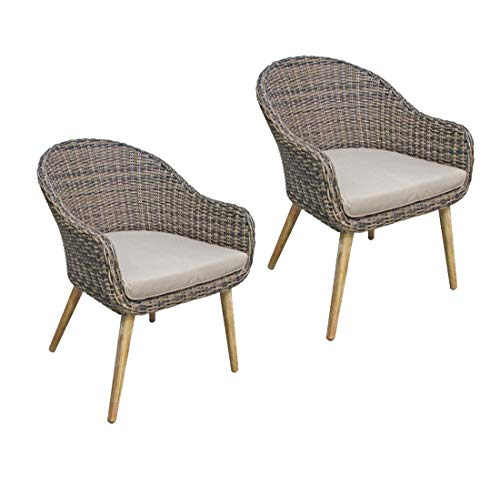 2 x mandfauteuil, bistrostoel, armleuning, massief hout, outdoor stoel, tuinstoel