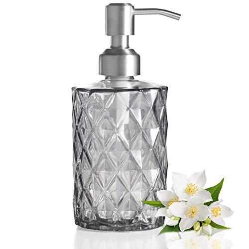 Glas Seifenspender, 340ML Nachfüllbarer Flüssigseifen Spender, 24 oz Handwaschflüssigkeit Klarglasflasche mit Edelstahlpumpe für Shampoo-Lotion, Badezimmerarbeitsplatte, Küche, Waschküche(Grau)