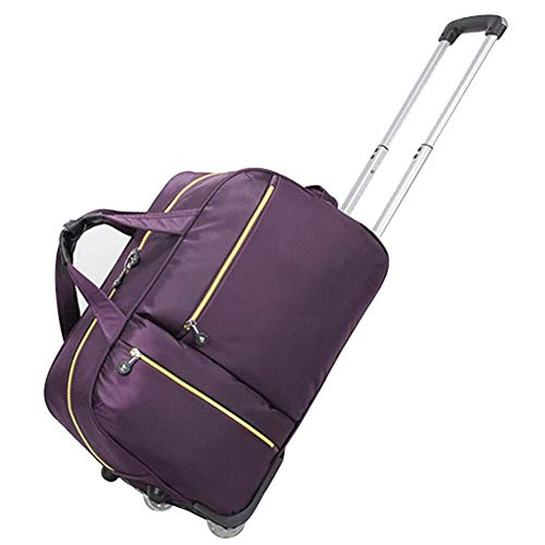 GQY Trolley suitcase - carry-wheel multi-purpose fabric bags - quality pulley backpack laptop backpack (Color : Dark Purple, Size : Large)