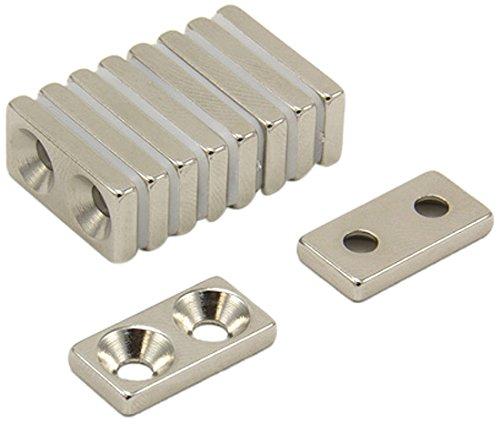 First4magnets F20103N-10 20 x 10 x 3mm Dicker x 3,5mm c/s N42-Neodym-Magnet-4,2kg Anziehungskraft (Nord) (1 St-Packung)
