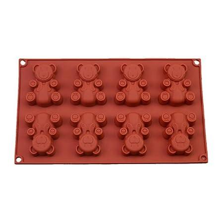 FantasyDay® 8 Cavités Ustensiles à pâtisserie Antiadhésif Moule en Silicone pour Muffins, gâteau au Chocolat, Moule à savons, Cupcake Et Gelée - Ustensile de Cuisine en Silicone - Forme de Ours