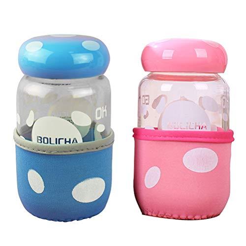 HEMOTON 2 Stücke Kreative Glas Schöne Tragbare Pilz Karaffe Mode Cartoon Glas Wasserflasche Tasse (Zufällige Farbe) Küche