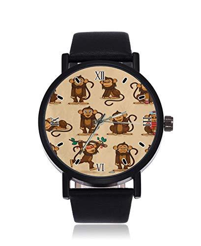 Reloj de pulsera de cuarzo con diseño de mono, diseño de emoticono de mono, correa de cuero de acero
