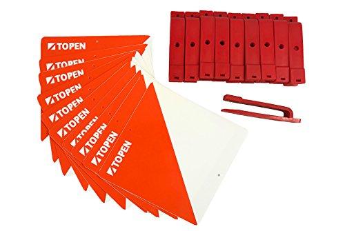 TOPEN Balizas plastifiées 15 x 15 and Pinces marcadoras (Lot de 10), Orange, M