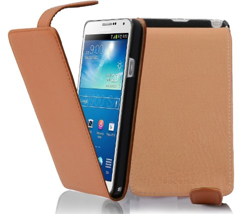 Cadorabo Custodia per Samsung Galaxy NOTE 3 in MARRONE CIOCCOLATA - Protezione in Stile Flip di Similpelle Strutturata - Case Cover Wallet Book Etui