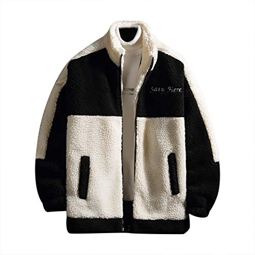 Huichang - Sudadera de invierno para hombre, estilo informal, cordero de cachemira, con cremallera de manga larga, para mantener el abrigo caliente con cuello redondo, para correr, chaqueta con cremallera, Hombre, Negro , large