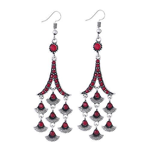 YAZILIND red Crystal Drop Haken Ohrringe indische Bollywood Ohrringe Braut Legierung Schmuck für Frauen Weihnachten Geburtstag Valentinstag Geschenk