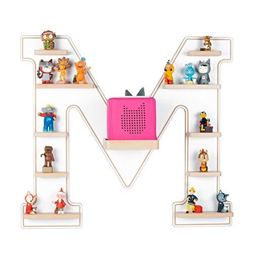 BOARTI das Original Kinder Regal Buchstabe M in Weiß - geeignet für die Toniebox und ca. 48 Tonies - zum Spielen und Sammeln