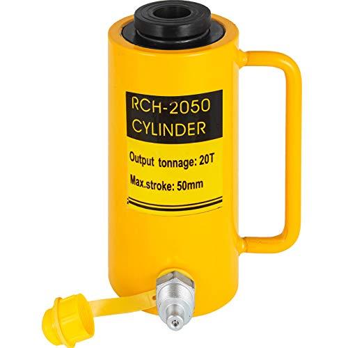 VEVOR Hydraulikzylinderheber Kapazität 20T Hydraulikzylinder 50 mm Hub einfachwirkender tragbar gelb, hydraulische Wagenheber Hohlkolbenheber Hydraulikflasche 6,9 kg für Riggers-Hersteller