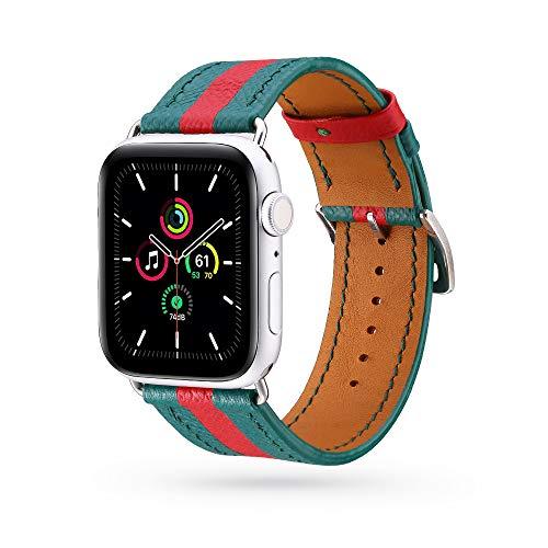HARBER Correa de piel compatible con Apple Watch SE Series 6 de 38 mm, 40 mm, 42 mm, 44 mm, correa de repuesto de cuero auténtico, correa clásica de repuesto compatible con iWatch 6/5/4/3/2/1