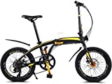 Bicicleta portátil plegable de ciudad mini bicicleta compacta Urban Pendler 20 pulgadas 7 velocidades plegable ciudad bicicleta bicicleta bicicleta freno de disco de aluminio B