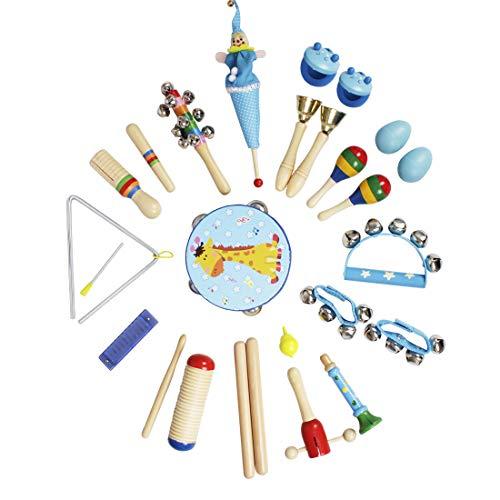 YAKOK 23Stück Holz Musikinstrumente Kinder, Baby Musik Spielzeug Instrumente Kinder für Baby Kinder Kleinkinder ab 2-6 Jahre (Blau)