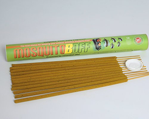MosquitoBOff Natural Mosquito Repellent Incense Sticks for Outdoors - CITRONELLA Essential Oil - DEET Free (12 Long Burn Sticks)