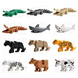 12PCS/Set City Animals Building Blocks Zoon Minifigures Figures Model Crocodile Shark Cow Educational Toys Compatible Major Block