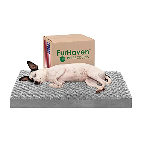 Furhaven Orthopedic Pet Bed for Dogs and Cats - Classic Cushion Ultra Plush Curly Fur Dog Bed Mat with Removable Washable Cover, Gray, Medium