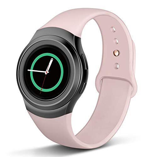 Compatible Gear S2 Band, NAHAI Soft Silicone Straps Sport Bands Adjustable Replacement Wristband Watch Bracelet for Samsung Gear S2 Smartwatch, Small, Pink Sand with Gold Button