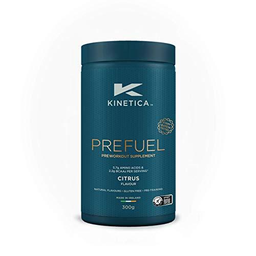 Kinetica Prefuel, integratore pre-allenamento, Agrumi, 300 g, 30 dosi, 5,9 g di amminoacidi e 2,3 g di BCAA per dose.