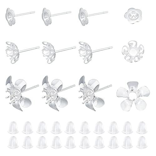UNICRAFTALE 30pcs 3 Estilos Pendientes de Botón de Flor de Plata con Tuercas de Plástico Pendientes Hipoalergénicos Pendiente de Botón de Acero Inoxidable con Pasador de 0.7mm
