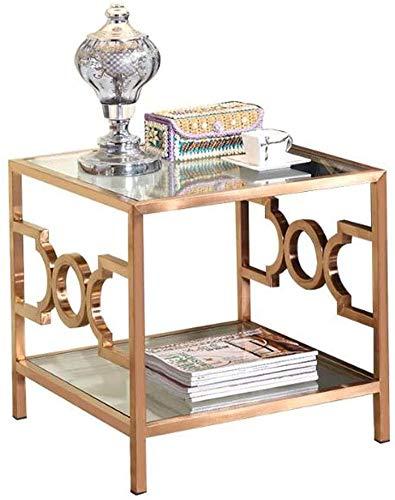 Mesa de sofá, mesitas auxiliares, mesa auxiliar pequeña cuadrada simple, mesa de lectura de sofá de sala de estar de acero inoxidable, mesa de centro de mesita de noche de oficina de vidrio templado
