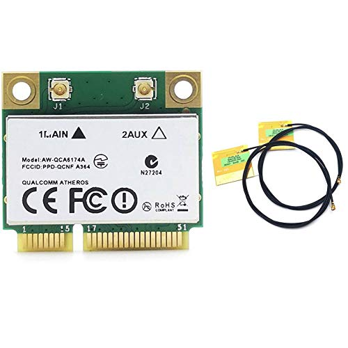 SNOWINSPRING Atheros QCA6174 1200M 2.4G / 5G Dual Frequency PCIE Network Card + 4.1 with 2 IPEX1 Antenna