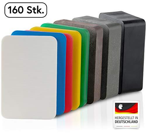 BAUHELD Universal Unterlegplatten 60 x 40 mm [160 Stück] - Mehrfarbige Unterlegscheiben aus Kunststoff [Made in Germany] - Abstandshalter Keile in den Größen: 1.5, 2, 3, 4, 5, 10, 15, 20 mm